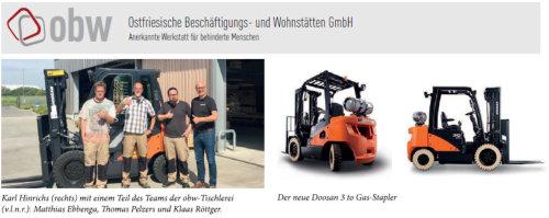 obw GmbH mit neuem Doosan 3 to Gas-Stapler