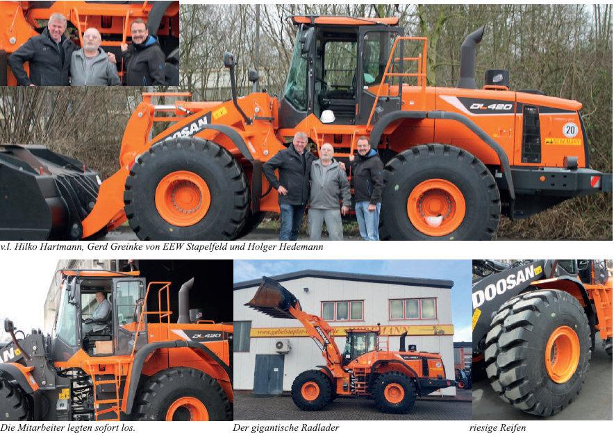 Zwei gigantische 25t Doosan Radlader für EEW in Stapelfeld im Hedemann-Fullservice!