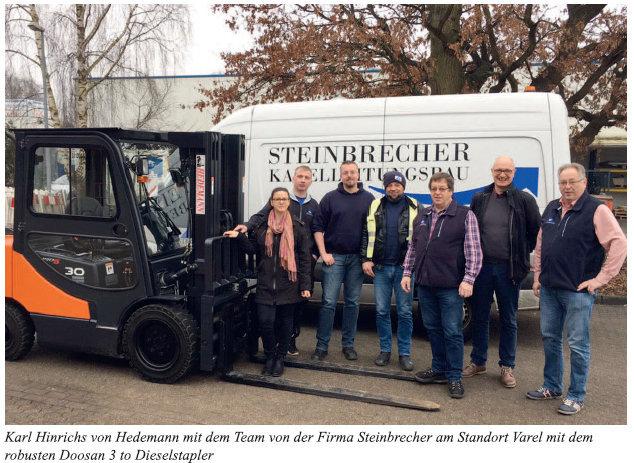 Steinbrecher mit neuem robusten Doosan Dieselstapler