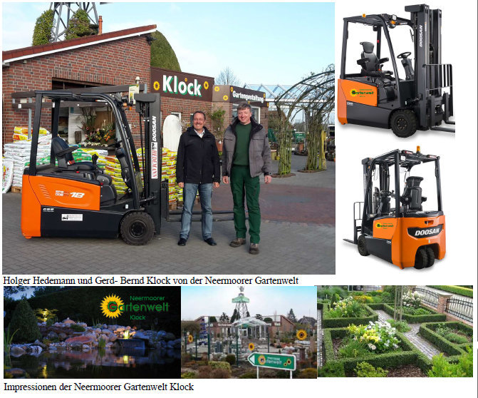 Kompakter, elektrischer Gartenbau- Stapler für Klock Gartenwelt Neermoor!
