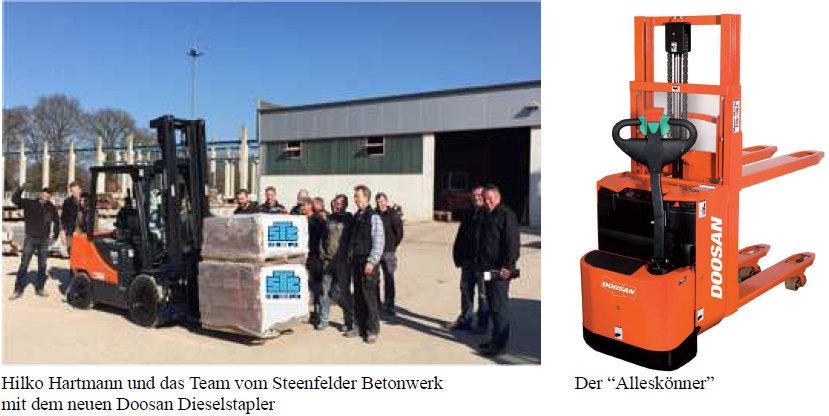Steenfelder Betonwerk mit neuen kraftvollen Doosan Dieselstaplern