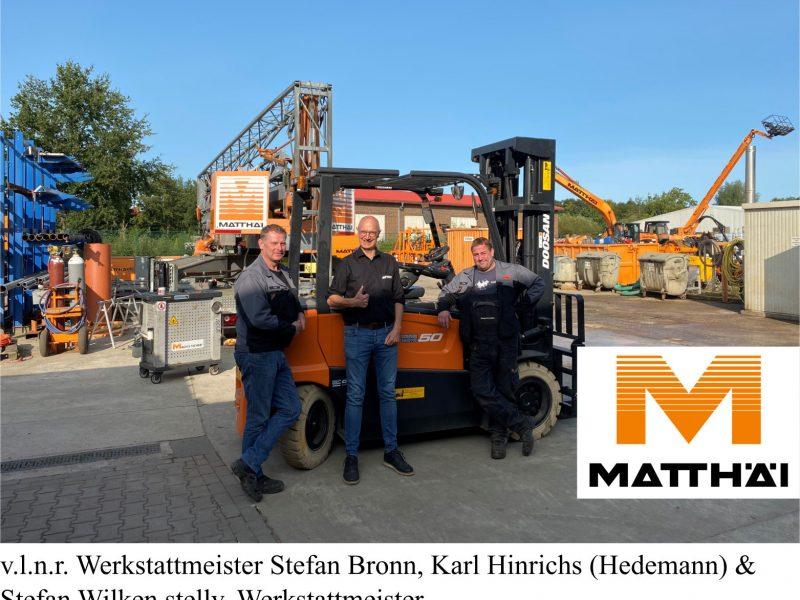Matthäi Bauunternehmen erhält umweltfreundlichen Elektro-Stapler