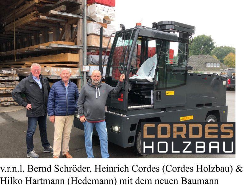 Cordes Holzbau erhält individuellen Baumann Elektro-Seitenstapler